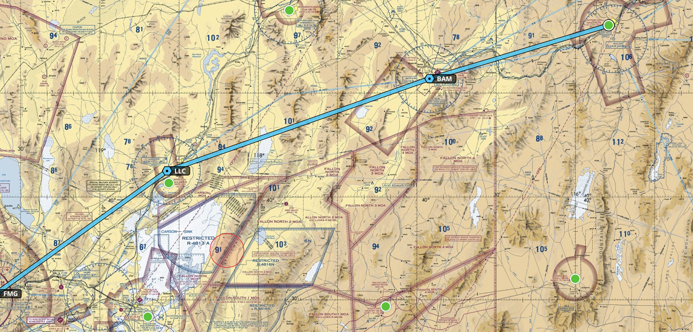A zoom in of our flight plan
