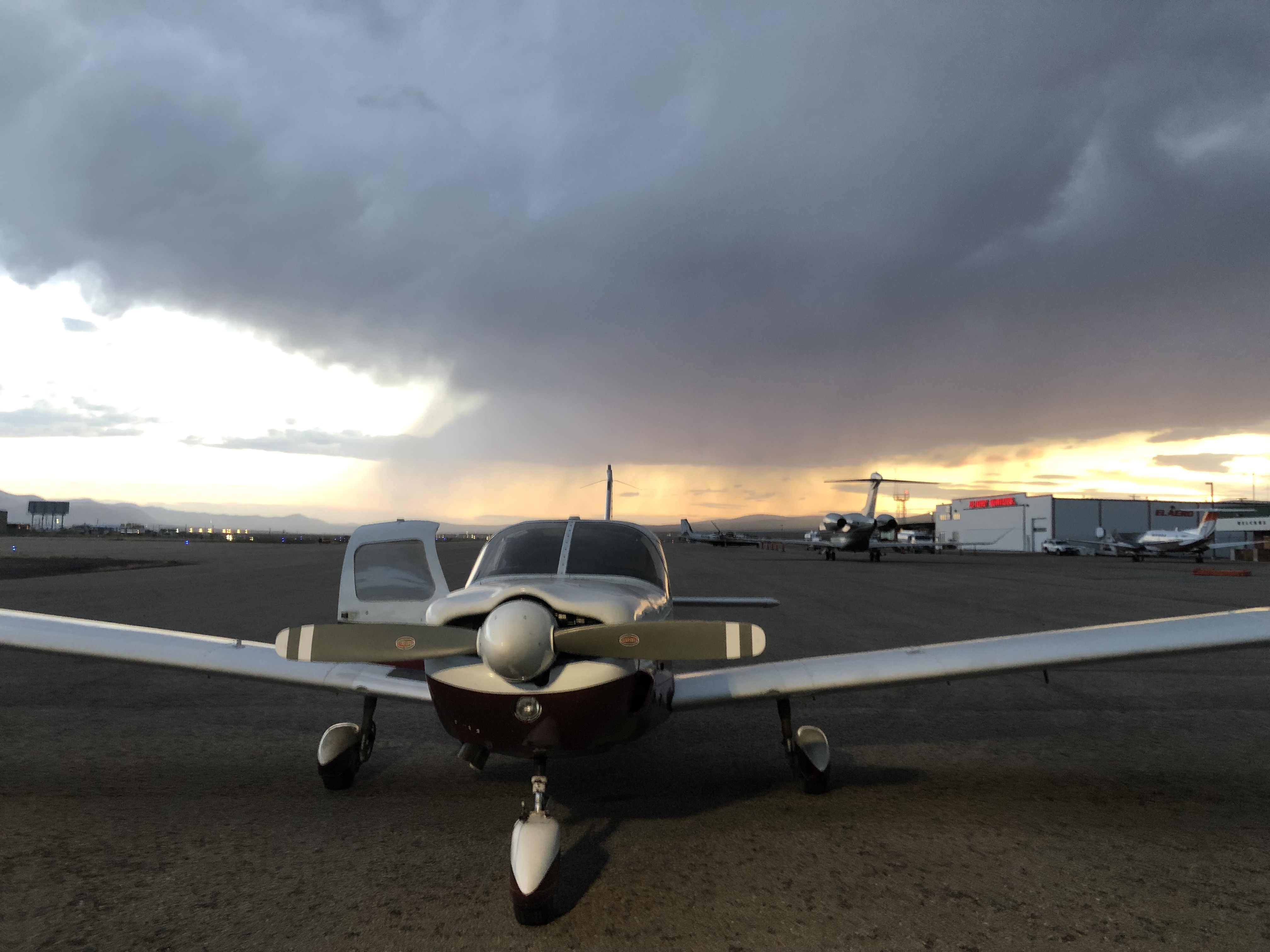 Landed at Elko, with storm in background