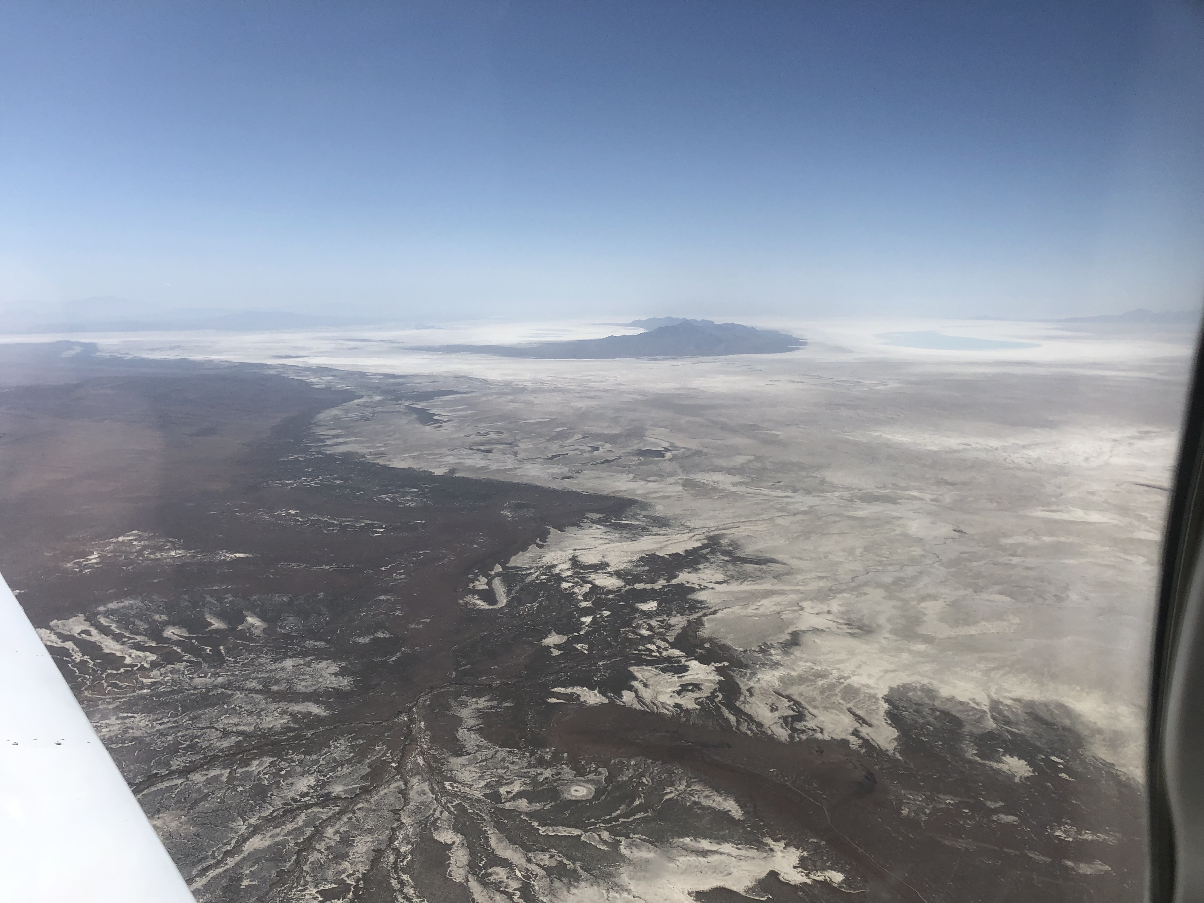 Mountains rising out of the Great Salt Lake of Utah